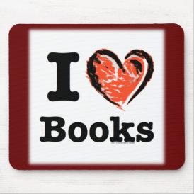 I Heart Books! I Love Books! (Crayon Heart) Mouse Pad
