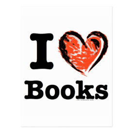 I Heart Books! I Love Books! (Crayon Heart) Postcard