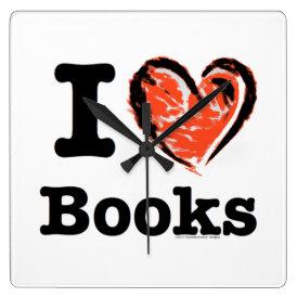 I Heart Books! I Love Books! (Crayon Heart) Square Wall Clock