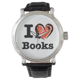 I Heart Books! I Love Books! (Crayon Heart) Wrist Watch