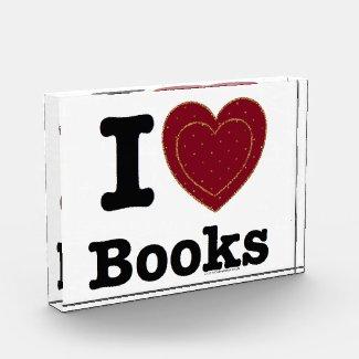 I Heart Books - I Love Books! (Double Heart) Acrylic Award