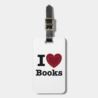 I Heart Books - I Love Books! (Double Heart) Travel Bag Tag