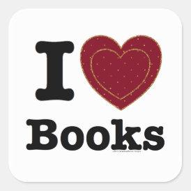 I Heart Books - I Love Books! (Double Heart) Square Sticker