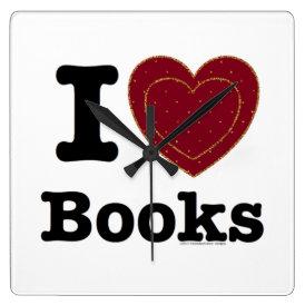 I Heart Books - I Love Books! (Double Heart) Square Wall Clock