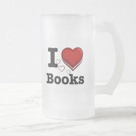 I Heart Books! I Love Books! (Shadowed Heart) Frosted Glass Beer Mug