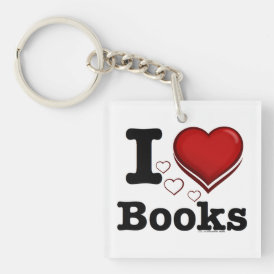 I Heart Books! I Love Books! (Shadowed Heart) Keychain