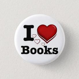 I Heart Books! I Love Books! (Shadowed Heart) Pinback Button