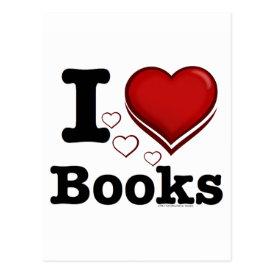 I Heart Books! I Love Books! (Shadowed Heart) Postcard