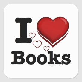I Heart Books! I Love Books! (Shadowed Heart) Square Sticker