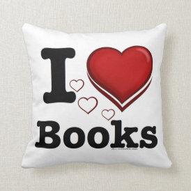 I Heart Books! I Love Books! (Shadowed Heart) Throw Pillow