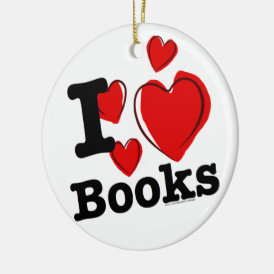 I Heart Books! I Love Books! (Sketchy Heart) Ceramic Ornament