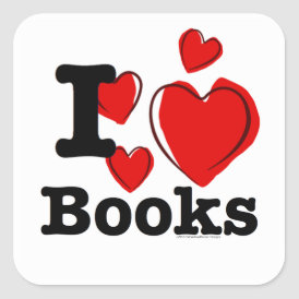 I Heart Books! I Love Books! (Sketchy Heart) Square Sticker