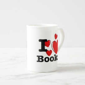 I Heart Books! I Love Books! (Sketchy Heart) Tea Cup