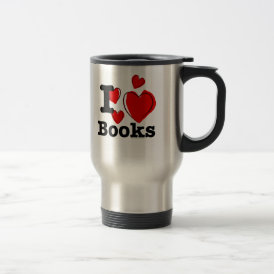 I Heart Books! I Love Books! (Sketchy Heart) Travel Mug