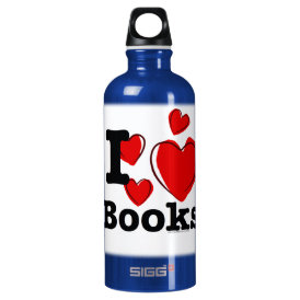 I Heart Books! I Love Books! (Sketchy Heart) Water Bottle