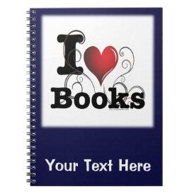 I Heart Books I Love Books! Swirly Curlique Heart