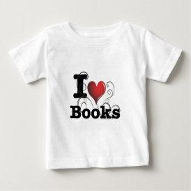 I Heart Books I Love Books! Swirly Curlique Heart Baby T-Shirt