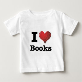 I Heart Books I Love Books! Swirly Curlique Heart Baby T-Shirt