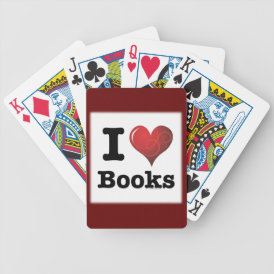 I Heart Books I Love Books! Swirly Curlique Heart Bicycle Playing Cards
