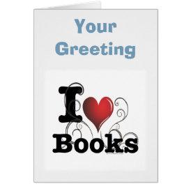 I Heart Books I Love Books! Swirly Curlique Heart Card
