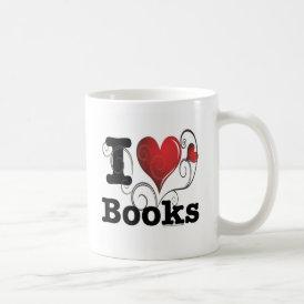 I Heart Books I Love Books! Swirly Curlique Heart Coffee Mug
