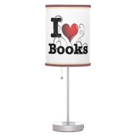I Heart Books I Love Books! Swirly Curlique Heart Desk Lamp