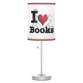 I Heart Books I Love Books! Swirly Curlique Heart Desk Lamp