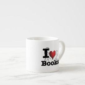 I Heart Books I Love Books! Swirly Curlique Heart Espresso Cup