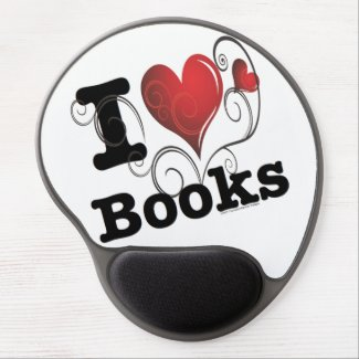 I Heart Books I Love Books! Swirly Curlique Heart Gel Mouse Pad