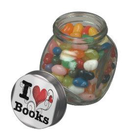 I Heart Books I Love Books! Swirly Curlique Heart Glass Candy Jar