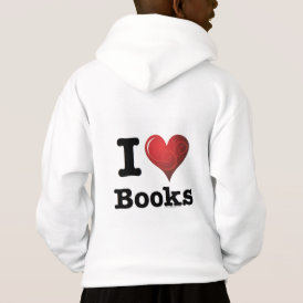 I Heart Books I Love Books! Swirly Curlique Heart Hoodie