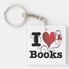 I Heart Books I Love Books! Swirly Curlique Heart Keychain
