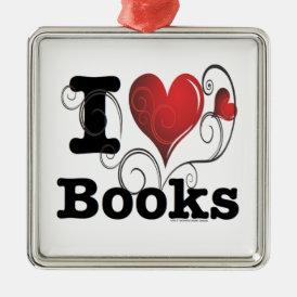 I Heart Books I Love Books! Swirly Curlique Heart Metal Ornament