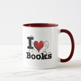 I Heart Books I Love Books! Swirly Curlique Heart Mug