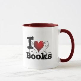 I Heart Books I Love Books! Swirly Curlique Heart Mug