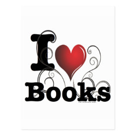 I Heart Books I Love Books! Swirly Curlique Heart Postcard