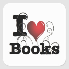 I Heart Books I Love Books! Swirly Curlique Heart Square Sticker
