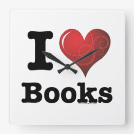 I Heart Books I Love Books! Swirly Curlique Heart Square Wall Clock