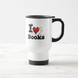 I Heart Books I Love Books! Swirly Curlique Heart Travel Mug