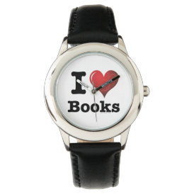 I Heart Books I Love Books! Swirly Curlique Heart Watch