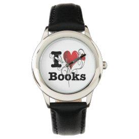 I Heart Books I Love Books! Swirly Curlique Heart Watch