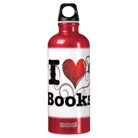 I Heart Books I Love Books! Swirly Curlique Heart Water Bottle