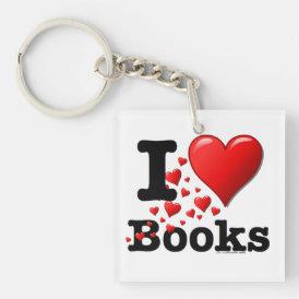 I Heart Books! I Love Books! (Trail of Hearts) Keychain