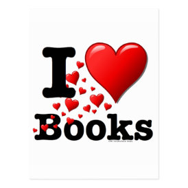 I Heart Books! I Love Books! (Trail of Hearts) Postcard