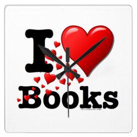 I Heart Books! I Love Books! (Trail of Hearts) Square Wall Clock