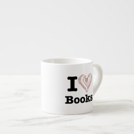 I Heart Books - I Love Books! (Word Heart) Espresso Cup