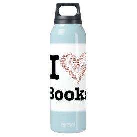 I Heart Books - I Love Books! (Word Heart) Insulated Water Bottle