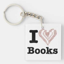 I Heart Books - I Love Books! (Word Heart) Keychain