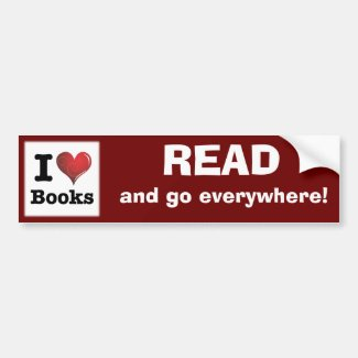 I heart books Swirly Curlique Heart 02 FADE 4000x4 Bumper Sticker