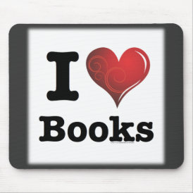 I heart books Swirly Curlique Heart 02 FADE 4000x4 Mouse Pad